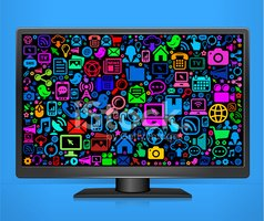 Computer Monitor with Modern Technology royalty free vector art