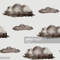 Seamless cartoon background with rain clouds on a gray sky.