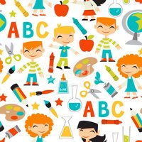 Retro Kids Back To School Seamless Pattern Background