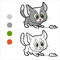 Domestic Cat,Child,Coloring...