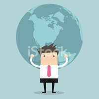 Businessman holding big globe vector
