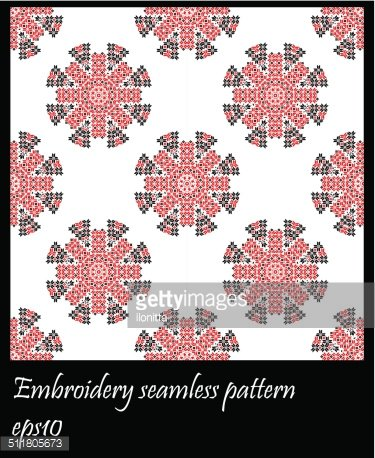 Ukraine embroidery seamless pattern in square shape.