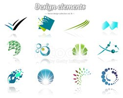 Collection of icons, abstract logos, isolated on white