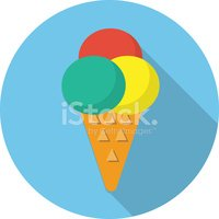 Flat,Ice Cream Cone,Frozen,...