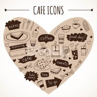 Hand drawn cafe icons: food and drink, made in vector