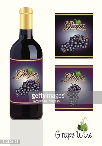 grape wine bottle with labels