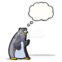 funny penguin cartoon with thought bubble