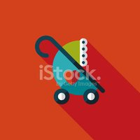 Baby carriages flat icon with long shadow,eps10