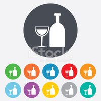 Alcohol sign. Drink symbol. Bottle with glass
