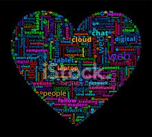 Heart on Modern Communication and Technology Word Cloud