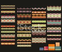 Set of seamless laced border patterns