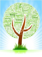Tree with Modern Communication and Technology Word Cloud