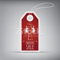 Christmas sales tag with vintage elements. Eps10 vector illustra