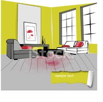 Bunte Illustration Ein Retro Wohnzimmer Interior Design