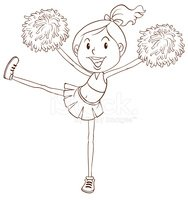Simple sketch of a cheerleader
