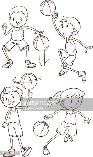 Simple sketch of the people playing basketball
