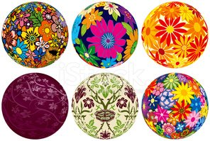 Six Floral Balls for your designs