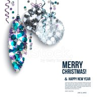 Christmas card with curled streamers and christmas balls compose