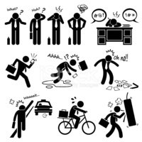 Fail Businessman Emotion Feeling Action Stick Figure Pictogram I