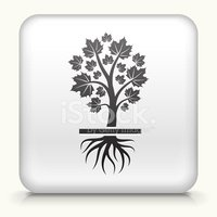 Square Button with Growing Tree