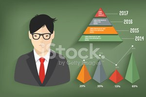 Business concept and graph on blackboard background