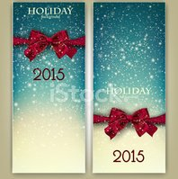 Greeting cards with red bows and copy space.