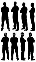 Silhouette,Side View,Men,Ar...