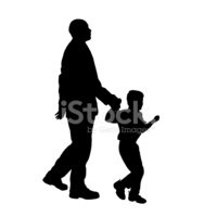 Silhouette,Father,Walking,T...