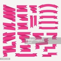 Pink ribbons set in flat style isolated on white background.