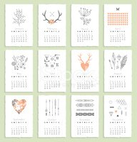 Calendar 2015 with hand drawn romantic elements. Isolated. Vecto