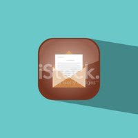 mail button icon flat  vector illustration eps10