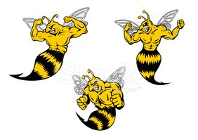 Angry cartoon wasp or hornets with a sting