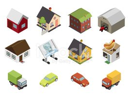 Isometric,Factory,Home Inte...