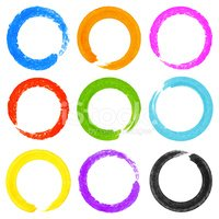 Set of Watercolor Colorful Grunge Circle Stains