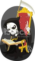 Grim Reaper Reading the Book of Death