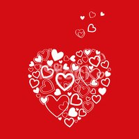 vector red Valentine's Day Card with hearts