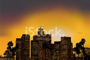 Los Angeles At Dusk Vector illustration