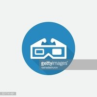 3d movie Flat Blue Simple Icon with long shadow