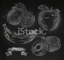 Blackboard,Fruit,Food,Vecto...