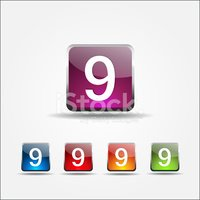 9 Number Vector Colorful Web Icon