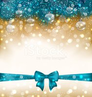 Christmas light background with realistic fir twigs, balls, ribb