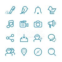 Vector social media icon , information medium set | Line icon se