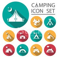 Flat Long Shadow tourist tent.Icon Set. Vector illustration.