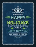 Flat Design Holiday Greeting Card Template - Blue Green