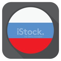 vector illustration - russia flag button round shape