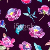 Seamless Watercolor Rose Floral Pattern