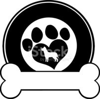 Black Circle Label Design With Love Paw Dog And Bone Clipart Images