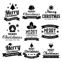 570164beed947 Christmas Happy New Year Collection of Calligraphic Typo stock ...