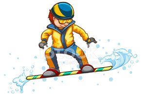 Drawing of a boy engaging in a wintersport activity