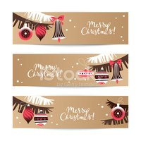 vintage christmas banner set happy new year cards
